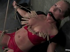 Blonde chick in red lingerie gets clothespinned and toyed