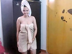 Homemade video with Indian BBW girlfriend sucking cock after shower