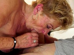 Hot granny named Malya sucks and fucks in her hairy pussy