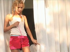 Cutie in Pigtails Gives a Lucky Guy a Great Handjob