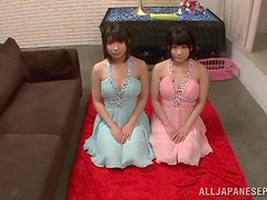 Attractive Japanese Girls in Dresses Giving Blowjob in POV Threesome