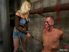 Nasty Xana Star drills guy's ass with a dildo and a strap-on