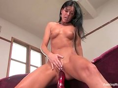 India Summer moans with pleasure while playing with a sex machine