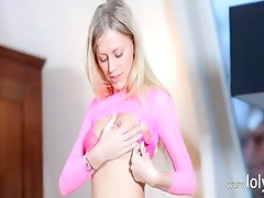 thin blondie with nice boobs toying