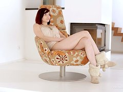 Gorgeous Redhead Teen Wanking Her Shaved Pussy On Armchair