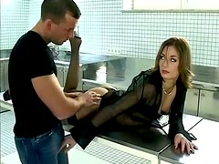 Sexy chick in stockings is enjoying a double penetration in the office