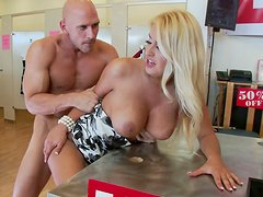 Naughty big tittied blonde loves big meaty pole