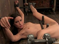 Toying Amber Rayne's Pussy Copiously in Bondage Session