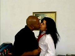 Latin girl in school uniform takes big black cock in her ass