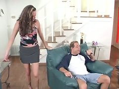 Hot brunette girl demonstrates her amazing blowjob skills