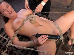Tied up Harmony gets toyed deep and hard in close-up scenes
