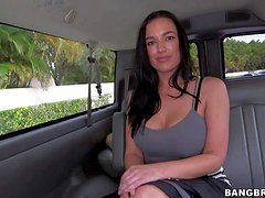 Pretty black haired bombshell Isabella Madison with big round jaw