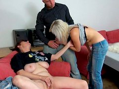 Chunk granny with big tits participates in FFM threesome