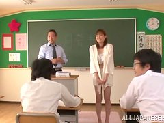 Luscious college babe gets naked and sucks her teacher