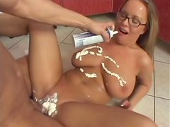 Busty blonde Jessica gets fucked in many positions in the kitchen