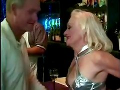 Blonde granny Kathy Jones jumps on a cock after rubbing it ardently