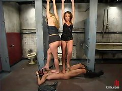 Stunning girls tie up and toy a guy in a restroom