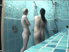 Tiny titty teens fool around in shower