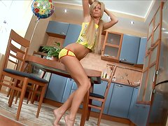 Cute Blonde Teen Screwing Her Wet Cunt With Dildo In The Kitchen