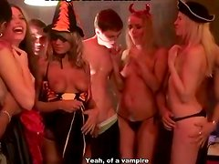 Halloween party ends up with steamy orgy for drunk amateur babes