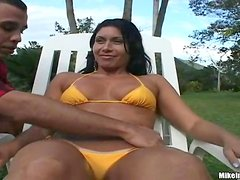 Busty Brunette Sucks Cock Outdoor