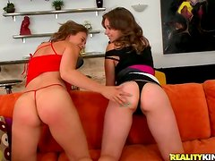 Brown-haired chicks toy their butts and get them pounded in FFM scene