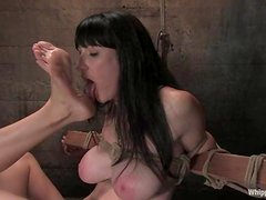 Natalie Minx gets whipped and brutally fucked with a strapon