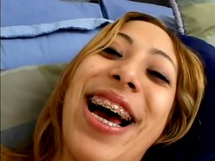 Kat shows her body and gives a great deepthroat blowjob