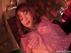 Japanese babe in sexy outfit masturbates pussy