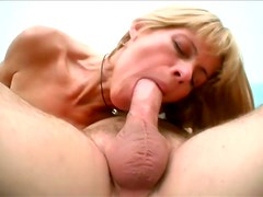 Thin Blonde MILF Rides That Stiff And Long Cock Before Facial