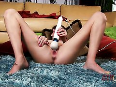 Brunette oriental Kiera Winters with small boobs and