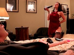Brunette hottie in black stockings gets her muff fucked with sex toys