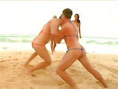Horny ladies have fun with the same big cock