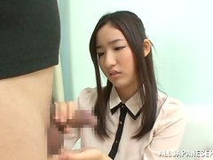 Cute Kokona Suzumiy gives nice blowjob and gets a mouthful