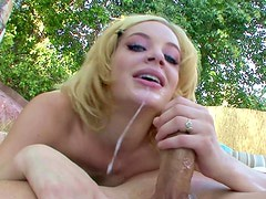 Small-tit blonde Ally Ann is giving an awesome deepthroat