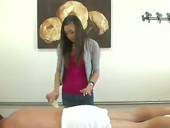 Hot Asian blowjob action on the massage table followed by some sex