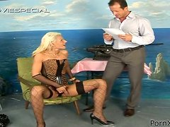 Filthy Whore in Fishnet Outfit Fucked Hard and Peed On