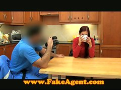 Brunette bitch blows and gets amazingly fucked in the kitchen