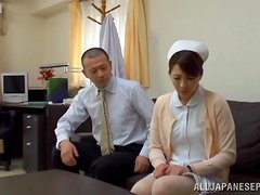 Gorgeous brunette japanese nurse gets fucked hard.