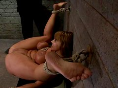 Slave with a fine ass and big boobs is under punishment