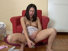 Connie is touching her shaved pussy so sexy