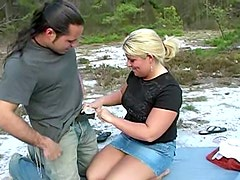 Chubby blonde skank gets fucked by two studs in the mountains