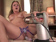 Naughty Kirra Lynne uses her new fucking machine
