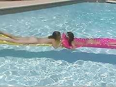 Two sexy lesbian bitches eating muff pie in the pool