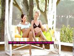 Judit and Isabella lesbo teen girls licking