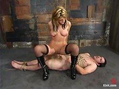 Gorgeous mistress knows how bad he wants her tight pussy