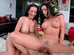Rachel Starr and Jayden Jaymes sit on cock
