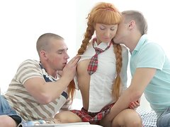 Schoolgirl Janette fuck with two dicks