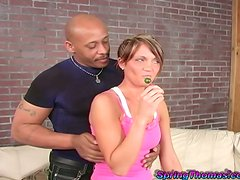 Skanky White girl gets toyed and hammered by a Black guy