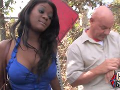 An ebony girl gets fucked and facialed massively by Whites